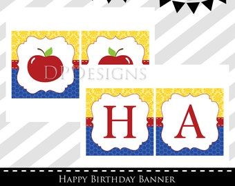 Snow White Inspired Happy Birthday Banner - INSTANT DOWNLOAD