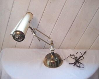 Vintage brass desk lamp, reading lamp, adjustable arm lamp, mid century brass lamp