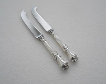 Pair of Silver Plated Cheese Knives New Stainless Steel Blades with Cutlery Handles Reclaimed from Antique Tableware by LondonCutlers