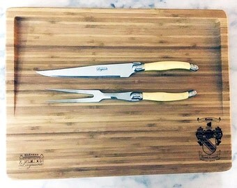 Laguiole Elite Carving Set: Wooden Cutting Board w/ Carving Knife - Great Men's Gift Perfect for Anniversary, Father's Day or Wedding Gift