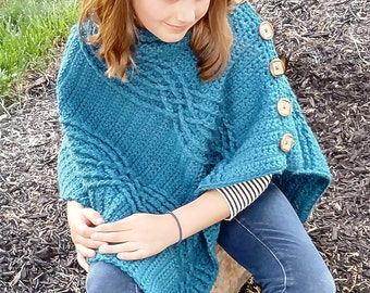 Crochet Pattern for Cabled Poncho Shawl Wrap PDF 16-261