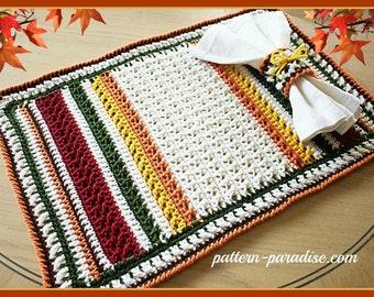 Crochet Pattern Harvest Placemat Set  PDF 15-210