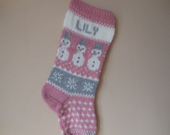 Personalized Christmas Stocking Pink Hand Knitted With Snowman Christmas Gift Christmas Decoration