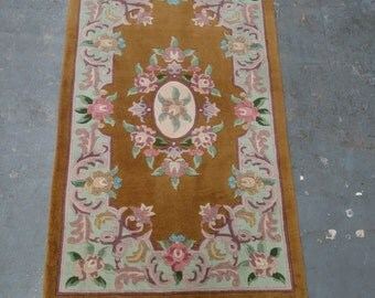 "1980s Vintage, 90-line, 5/8"", Sculpture Chinese Rug in Art Deco Style (2247)"