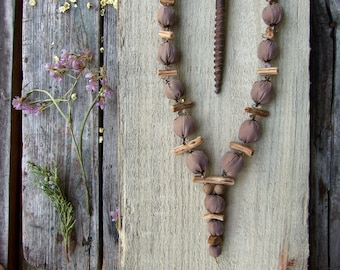 """Long necklace with beige silk fabric beads """"Nexus"""", soft statement jewelry, wood branch beads, bohemian style"""