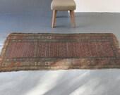 Large Beautiful Worn and Ornate Tribal Rug