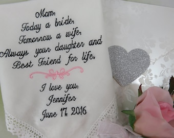 Mother of Bride Gift - Embroidered Wedding Handkerchief - To Dry Your Tears - Wedding Gift For Parent - Personalized Hankerchief -Mom Hankie