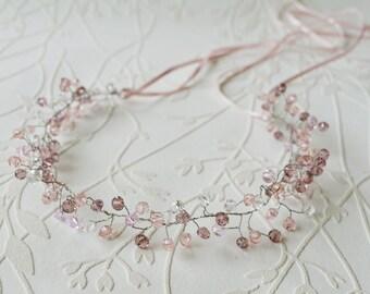 Bridal tiara, Crystal hair crown, Crystal wedding crown, Pink purple headpiece, Bridal headband, Pearl tiara, Wedding hair accesories