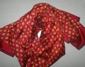 Small Scarf Indian Silk Scarf Neck Scarf Red Brown Scarf SSF1