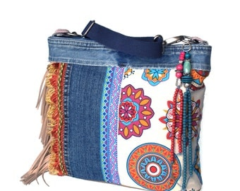 Crossbody bag Ibiza style with fringe, colored handbag in fuchsia and turquoise with recycled jeans, one of a kind handmade purse bohemian