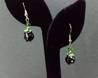 MOVING SALE! Witch's Brew Halloween Glass Lampwork Earrings