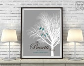Unique Family Willow Tree with Love Birds Print, Personalized Modern Family Name Wall Art Decor, 8x10, 11x14 OR 16x20 Gray, Teal Unframed