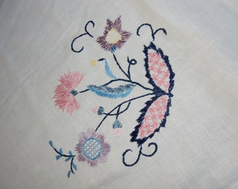 Swedish lovely hand embroidered table cloth from the 1960s / retro / vintage/flowers