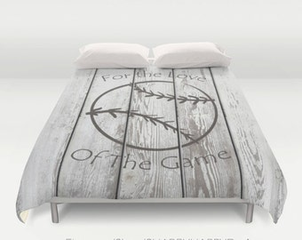 Distressed Stamped Baseball on Slatted Fence / Duvet Cover or Comforter Bedding Art  / 2nd ships FREE! /Sizes Full, Queen ( XL Twin) ,& King