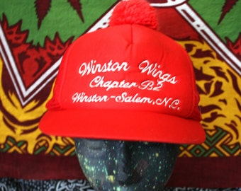 Bright Red Winston Wings Secret Society Trucker Cap. Red 80s Retro Mesh Snapback Hat With A Ball On Top.  Vintage Baseball Cap.