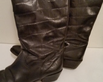 80's Boots Black Leather Cowboy Boots  Boho Cow Girl Alligator Embossed Uppers Embroidered Pointy Toes New Leather Soles and Heels Size 7