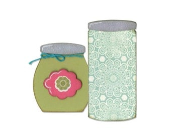 Sizzix - Bigz Die - Button Jars & Labels by Eileen Hull