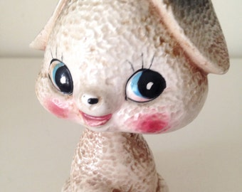 SALE- Vintage Ceramic Puppy bobblehead Figurine