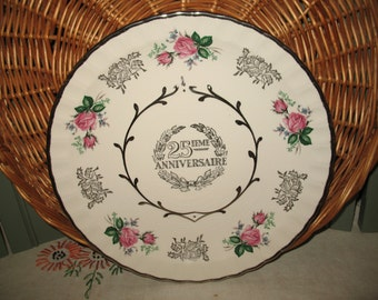 25 th anniversary Avon Wood & Sons.Anniversaire wedding souvenir plate.