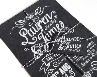 Chalk Board Wedding Invitation - Vintage Typography WHITE INK SAMPLE