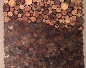 Wood Slice and Metal Circle Wall Art