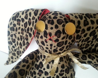 Leopard Print Bunny Doll, Cotton Bunny in Leopard Print