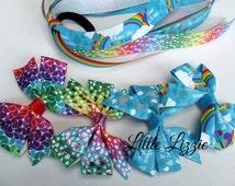 Rainbow hair tie (pony-o) and clip set