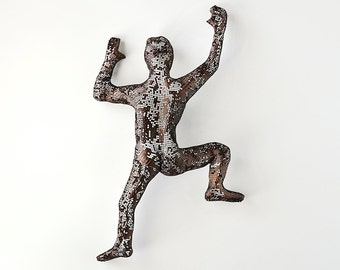 Climbing Figure, metal wall art, abstract art, wire mesh sculpture, wall hanging, sport art