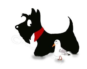Scottie Dog & Gull Art  Print 8 X 6 INCHES #73