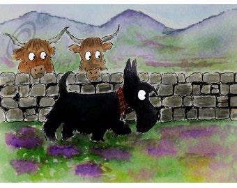 ACEO Print Scottie Dog  , 'Roamin in the Gloamin' 2.5 X 3.5 Inches, Scottish Terrier