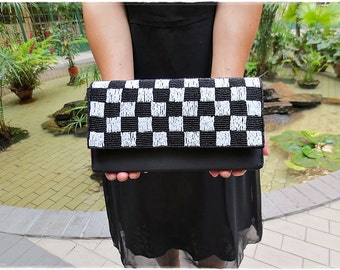 Beaded clutch purse black and white satin evening purse checker sparkling shimmering clutch bridesmaids wedding gift cotton linen