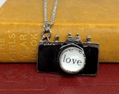 Gifts for Artists, Love Camera Jewelry, Photographer Gift, Camera Necklace, Love Necklace, Love Photography