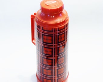 Vintage Thermos - Red Plaid Aladdin Quart Thermos