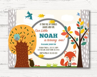 Woodland First Birthday Invitation, Boy Forest Animals Invite, Boy Woodland Birthday Party, C013