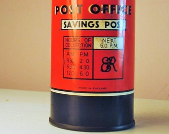 antique tin bank post box ROUND RED post box english tin bank childrens toy real charmer lovely patina GRAPHICS