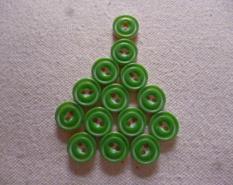 Vintage Buttons. 14 Bright Green/Cream two layer sandwiched 1940s Buttons.