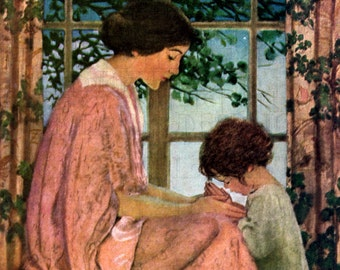 Jessie Wilcox Smith. Mother With Praying Child. MOTHER'S Day Vintage Illustration. DIGITAL  Download. Vintage Print. Mother's Day Card