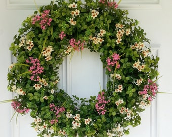 Summer Boxwood Wreath. Fall Wreath. Front Door Wreath. Boxwood with Rose and Cream Flowers.  Farmhouse Decor.  Mothers Day Gift.