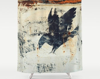 Shower Curtain -  Rusty Grungy Black Bird, Crow, Raven  - Nature Photograpy by RDelean Designs