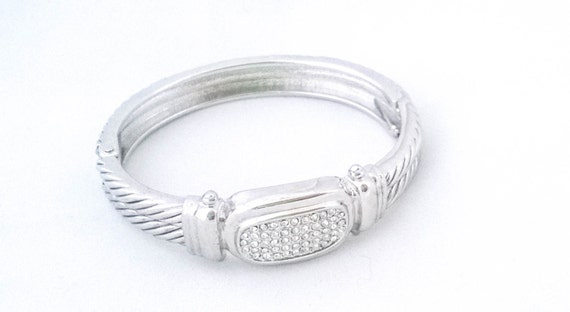 Vintage Silver rope etched rhinestone centerpiece bangle clamper cuff bracelet