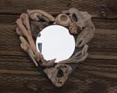 Driftwood Heart Mirror - Oregon Natural Driftwood