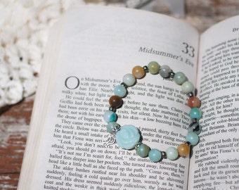 Amazonite Gemstone and Rose Bracelet - Gemstone Bracelet