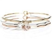 Raw Herkimer Diamond Bracelet / April Birthstone / Rose / Yellow Gold Gemstone Bangle / Bridal / Bridesmaid Gift / Gift for Mom