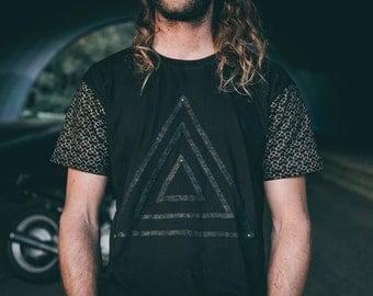 Pyramid priest t-shirt - Mens tee - Black tshirt - Leather detailing