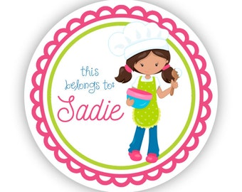 Name Label Stickers - Hot Pink Lime Baker Girl, Baking Personalized Name Tag Sticker Labels, This Belongs To - Back to School Name Labels