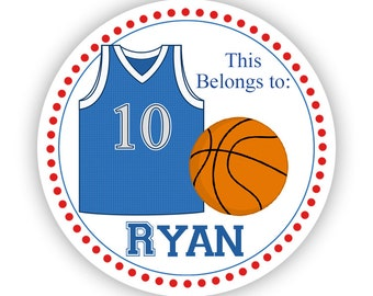 Name Label Stickers - Red and Blue, Sport Basektball Personalized Name Tag Stickers - This Belongs To Stickers - Back to School Name Labels