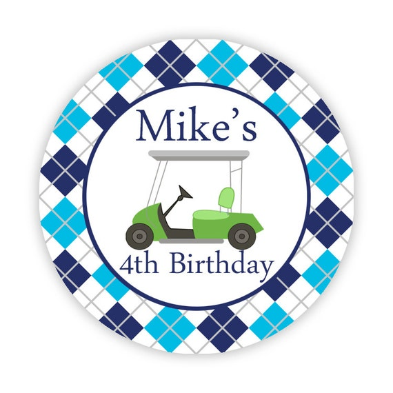 Golf Stickers - Navy Blue and Aqua Argyle Plaid, Lime Green Golf Cart Personalized Birthday Party Stickers - Round Labels