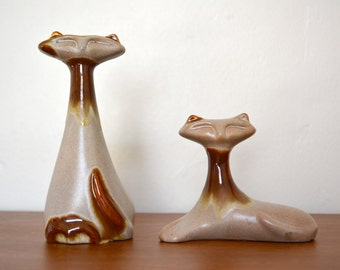 Modern Cat Art Pottery Figures. Mid Century Modern Pair of Cats. Beauce Canada Pottery Art. Siamese Feline Ceramic Home Decor. Retro Cats