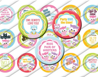 Cute Snarky Owls Bottle Cap Images 1 inch circle image sheet Digital Collage INSTANT DOWNLOAD