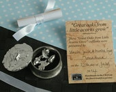 Mighty oaks from little acorns grow, Christening cuff links in a Personalised oak leaf pewter box. Christening presents for boys